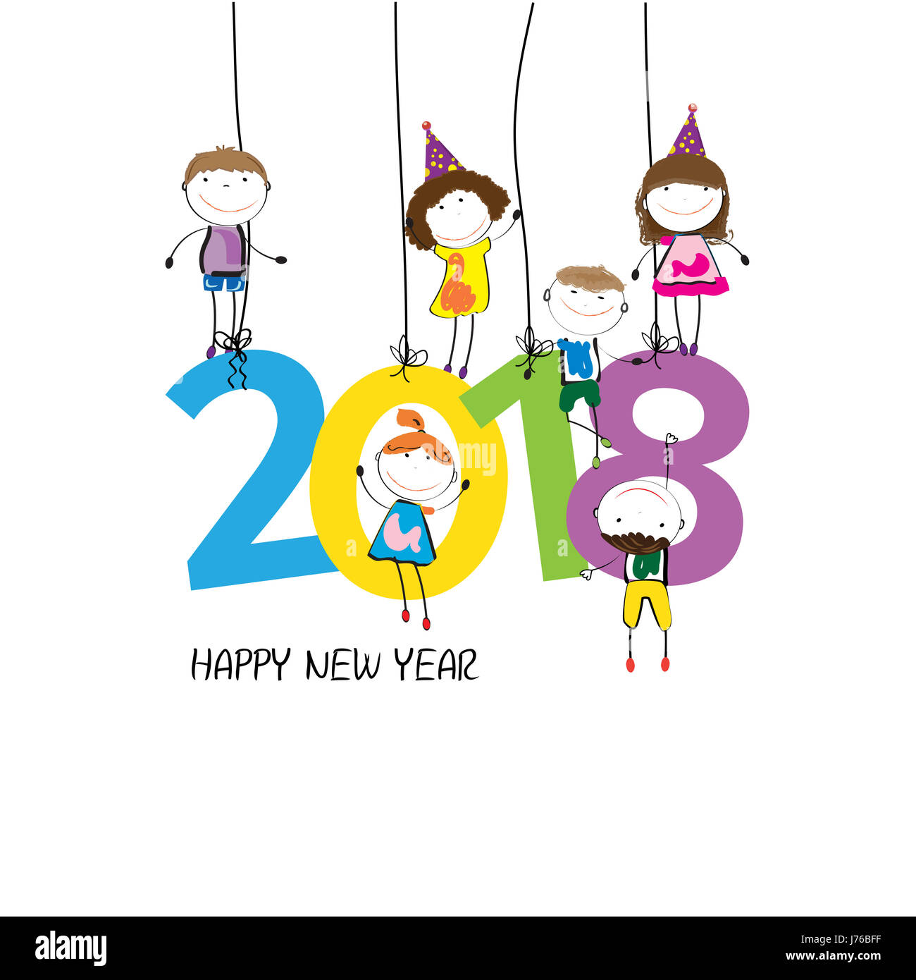 colorful card for new year 2018 with happy kids