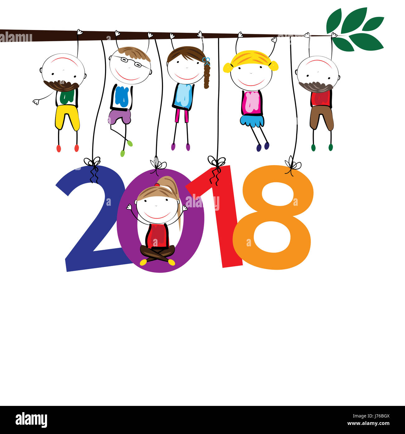 Colorful card for New Year 2018 with happy kids Stock Photo ...