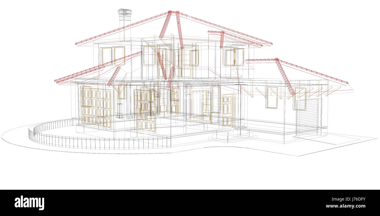 House building model design project concept plan draft engineering stock photo 142127887 alamy for Concept home architecture and engineering