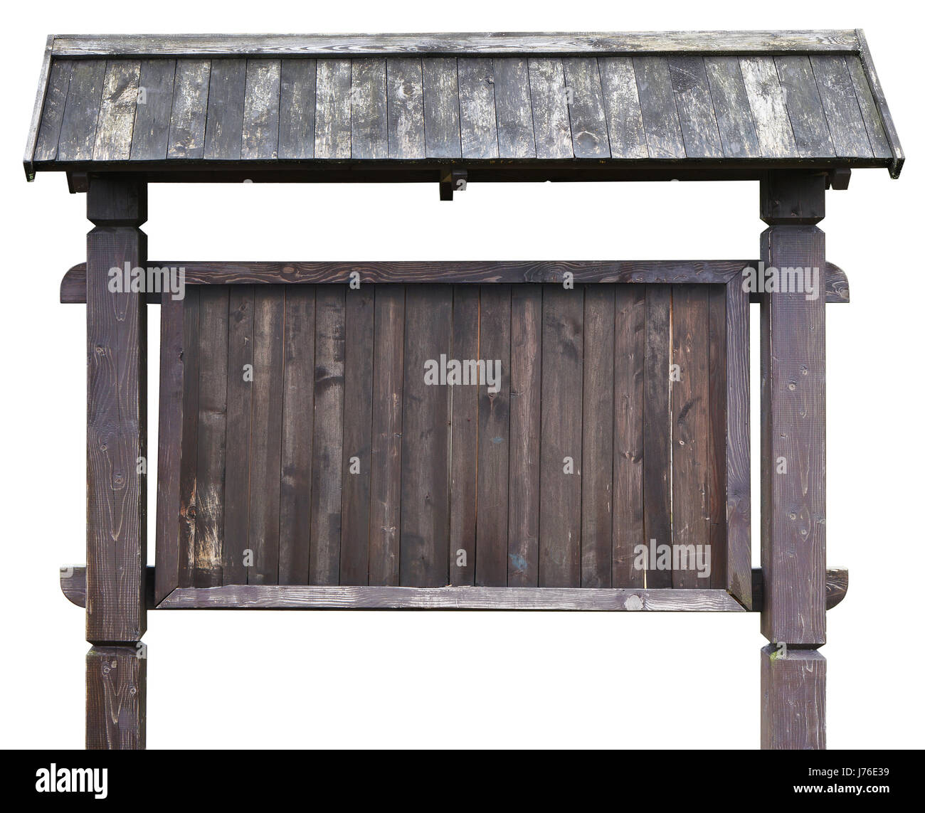 Vintage aged wooden stand for rural village  information. Isolated on white - Stock Image