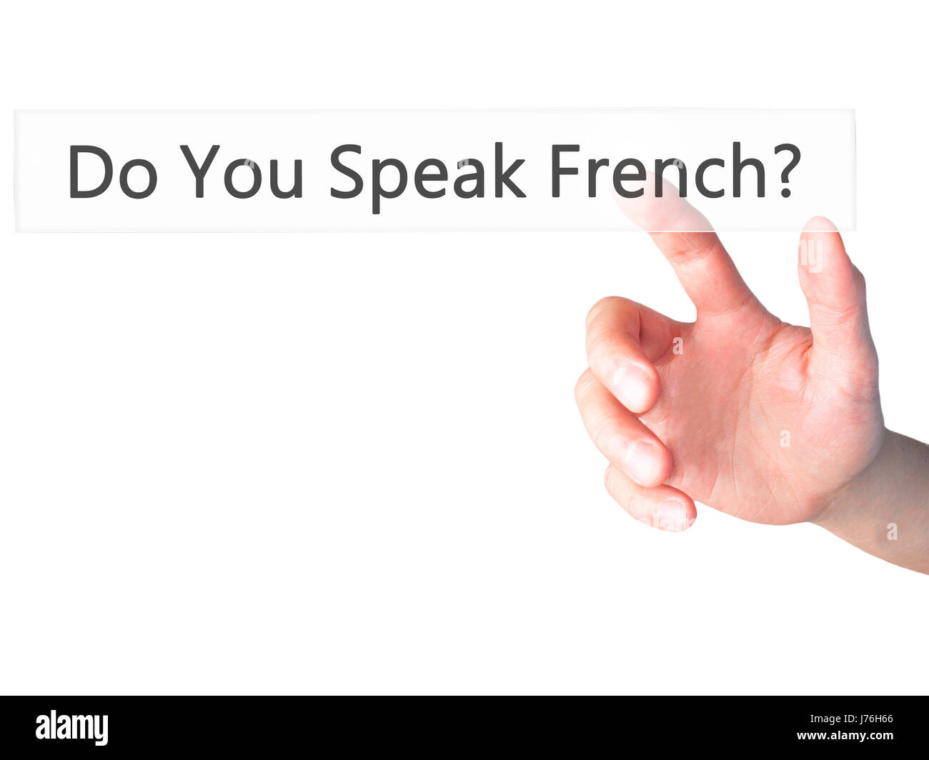 Do You Speak French ? - Hand pressing a button on blurred background concept . Business, technology, internet concept. - Stock Image