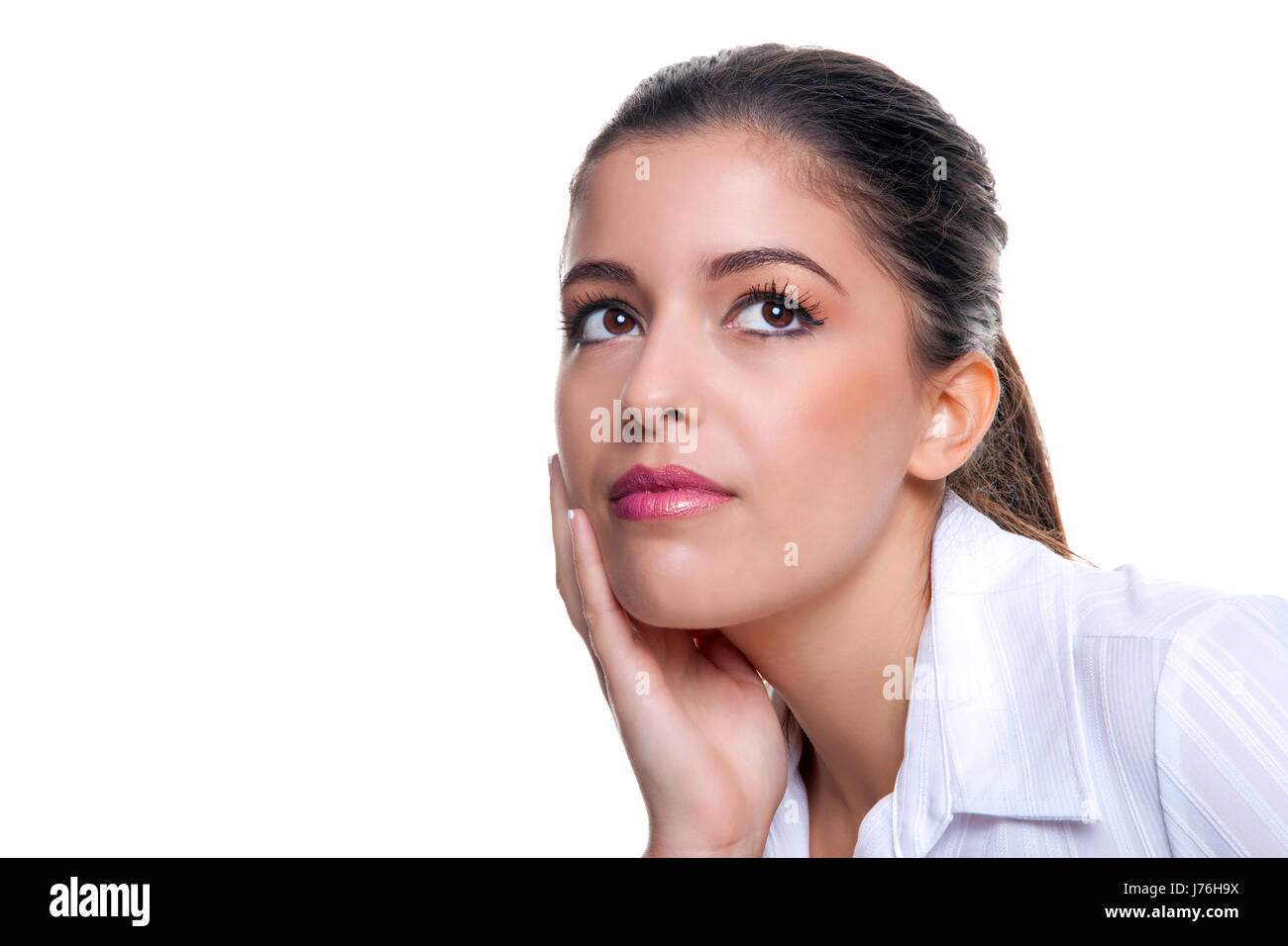 woman idea perspective point of view approach view opinion angle contemplation - Stock Image