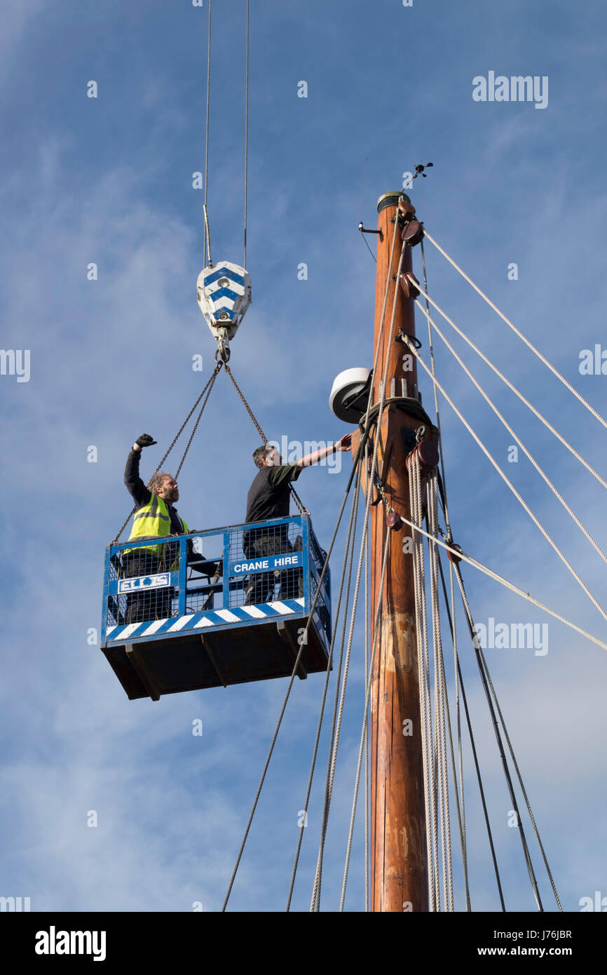 West Country ketch Irene in Gloucester docks for maintenance work - Stock Image