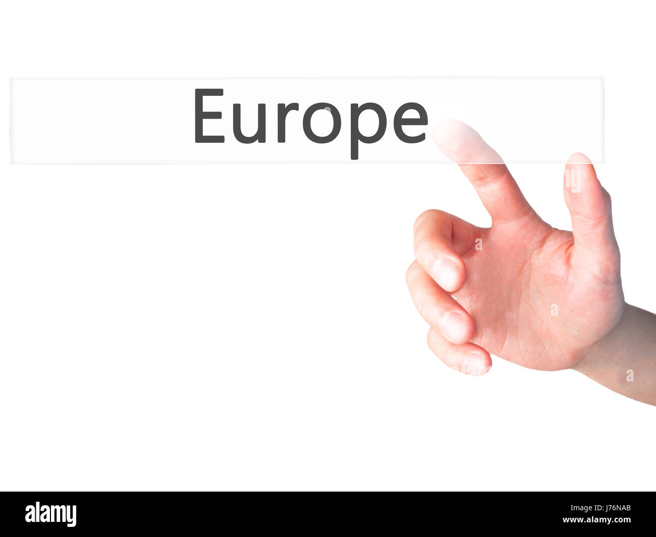 Europe - Hand pressing a button on blurred background concept . Business, technology, internet concept. Stock Photo - Stock Image
