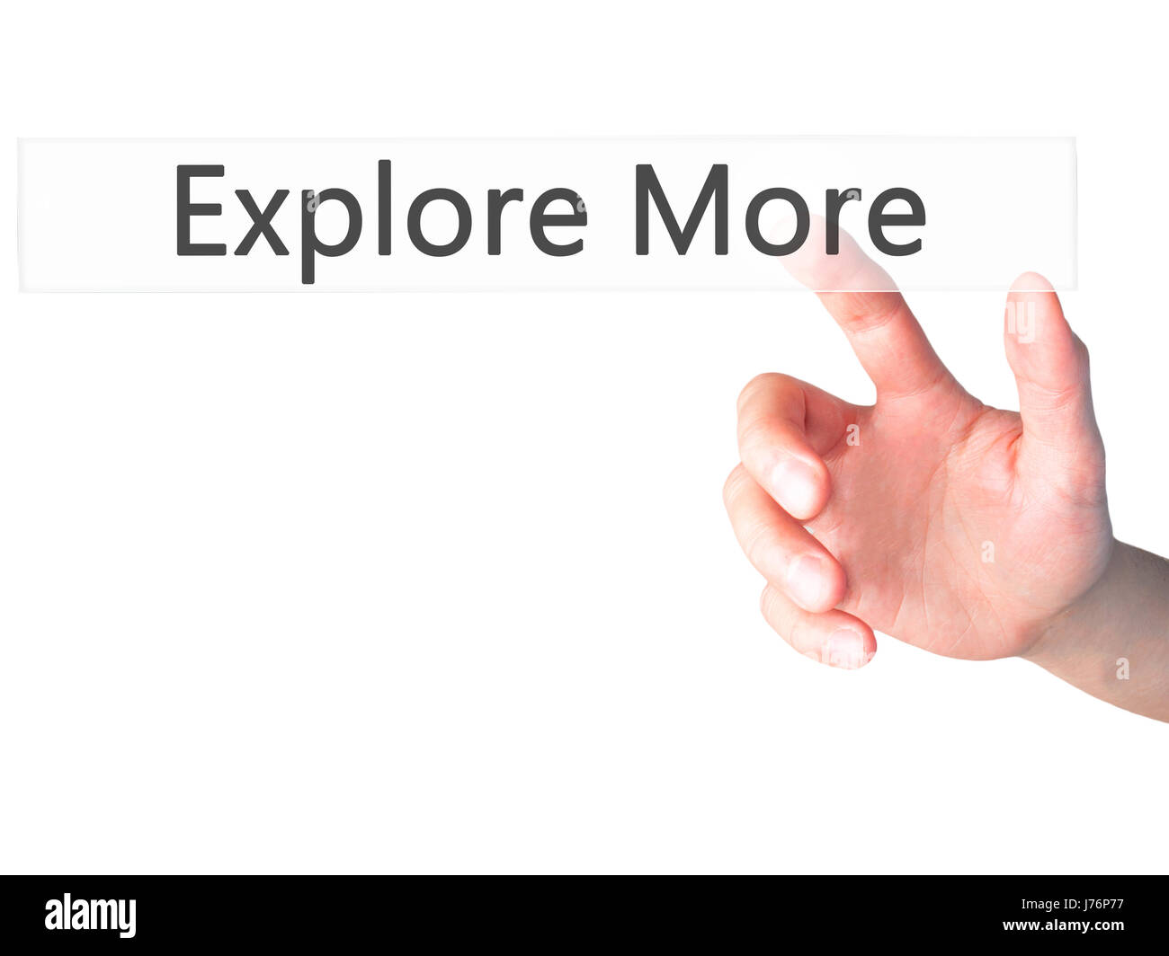 Explore More - Hand pressing a button on blurred background concept . Business, technology, internet concept. Stock - Stock Image