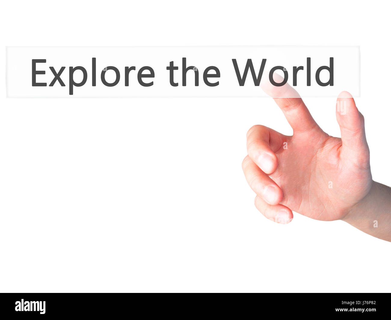 Explore the World - Hand pressing a button on blurred background concept . Business, technology, internet concept. - Stock Image