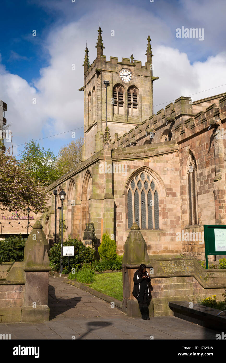 UK, England, Derbyshire, Derby, St Peter's Street, St Peter's Church, where Quaker George Fox was arrested - Stock Image