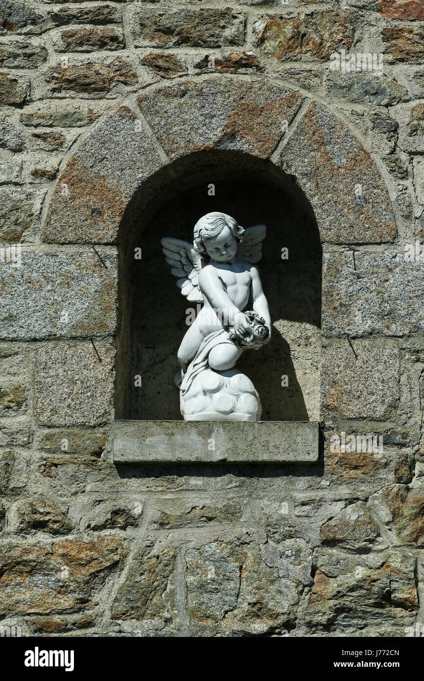 statue sculpture marble angel angels niche art stone blank european caucasian Stock Photo
