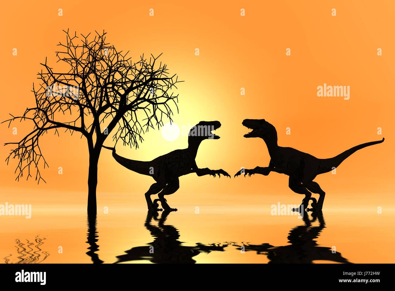 scherenschnitt dino - Stock Image