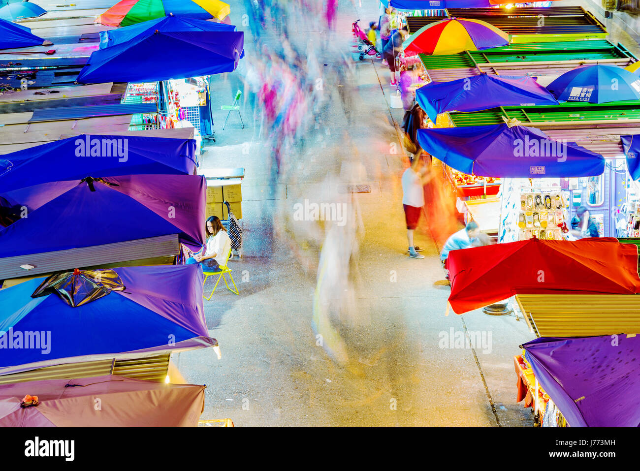 HONG KONG, CHINA - APRIL 24: This is an aerial view of Fa Yuen street market a popular local market in in the Mong - Stock Image