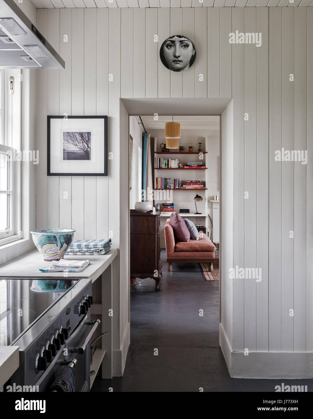Fornasetti plate above doorway in renovated tongue and groove kitchen - Stock Image