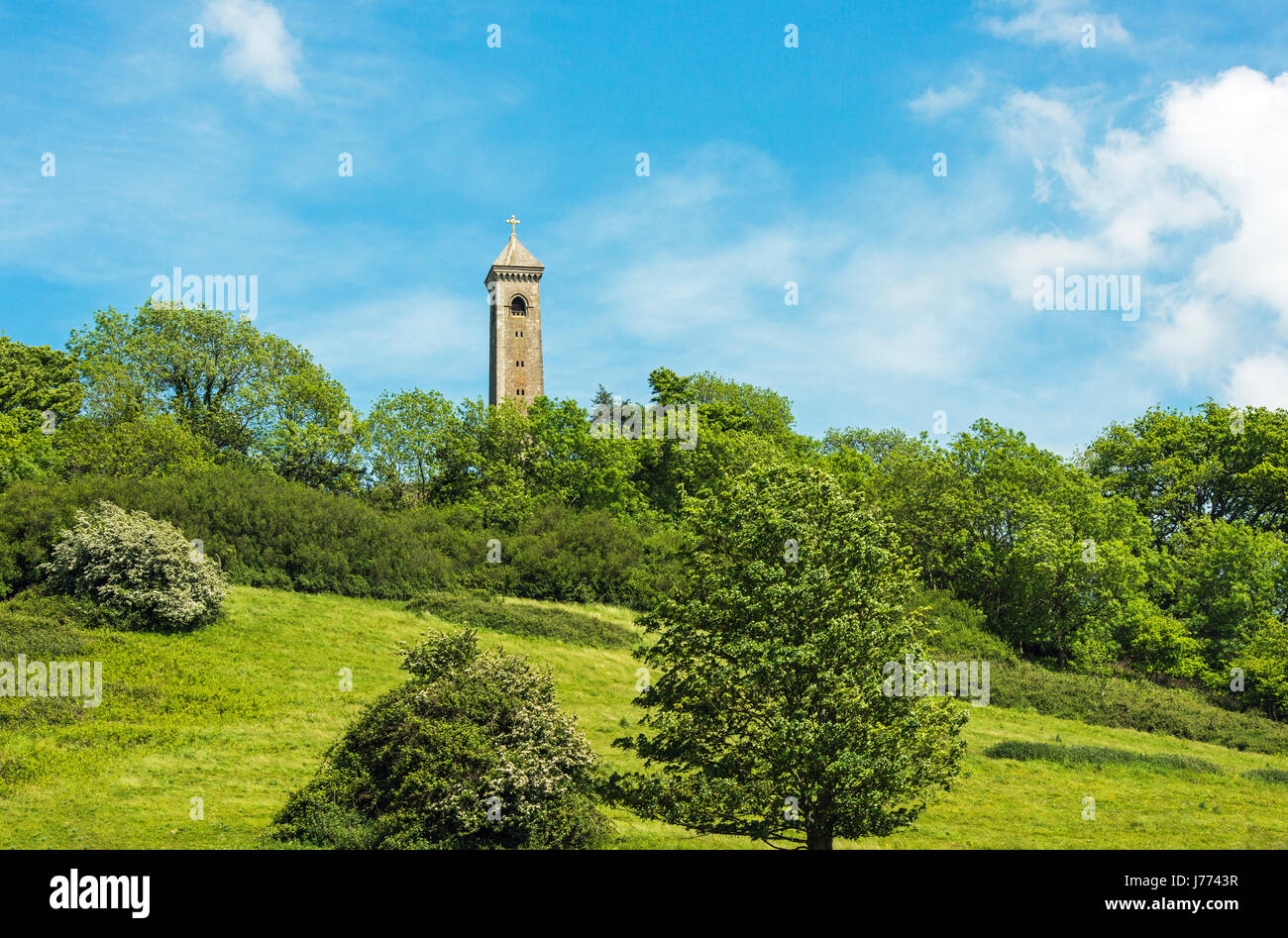 The Tyndale Monument, in memory of William Tyndale, atop a hill above North Nibley in Gloucestershire - Stock Image
