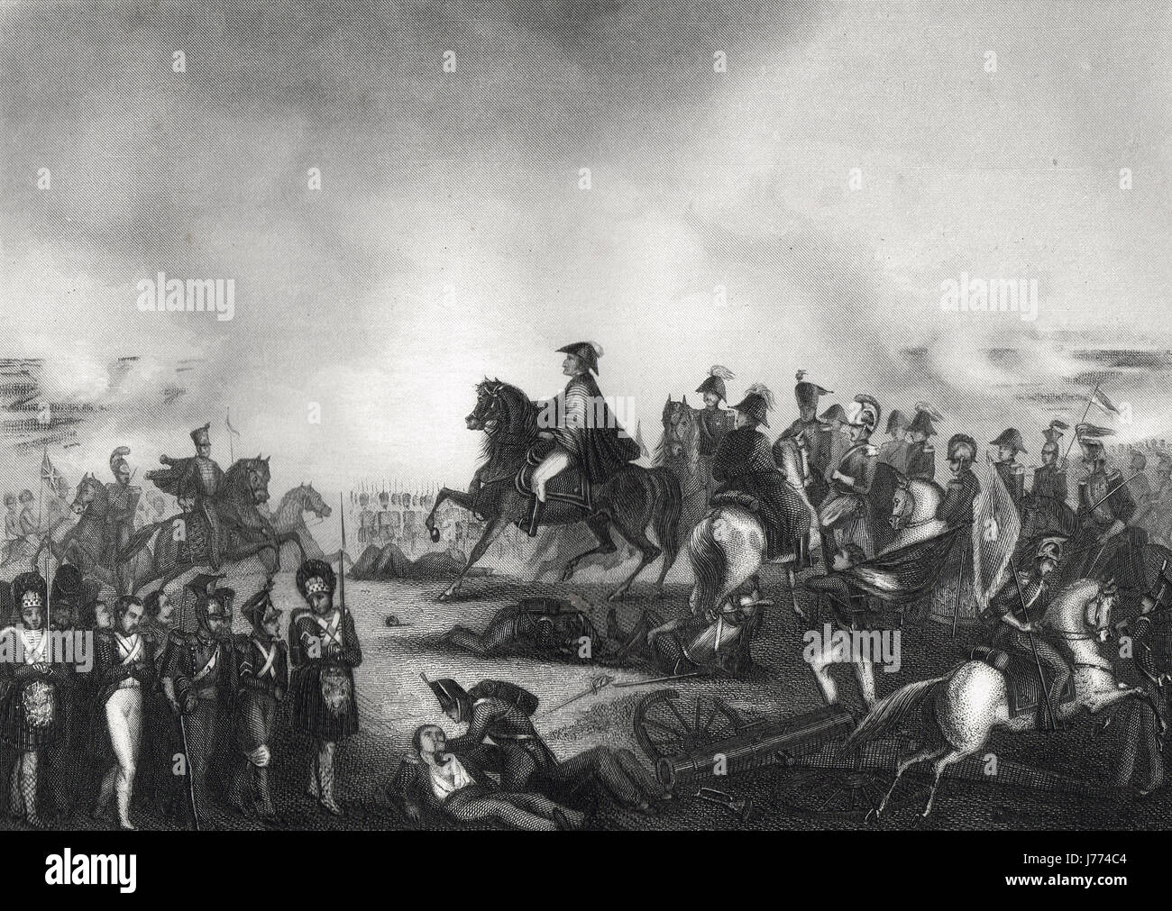 Duke of Wellington & his staff at  The Battle of Waterloo 1815 - Stock Image