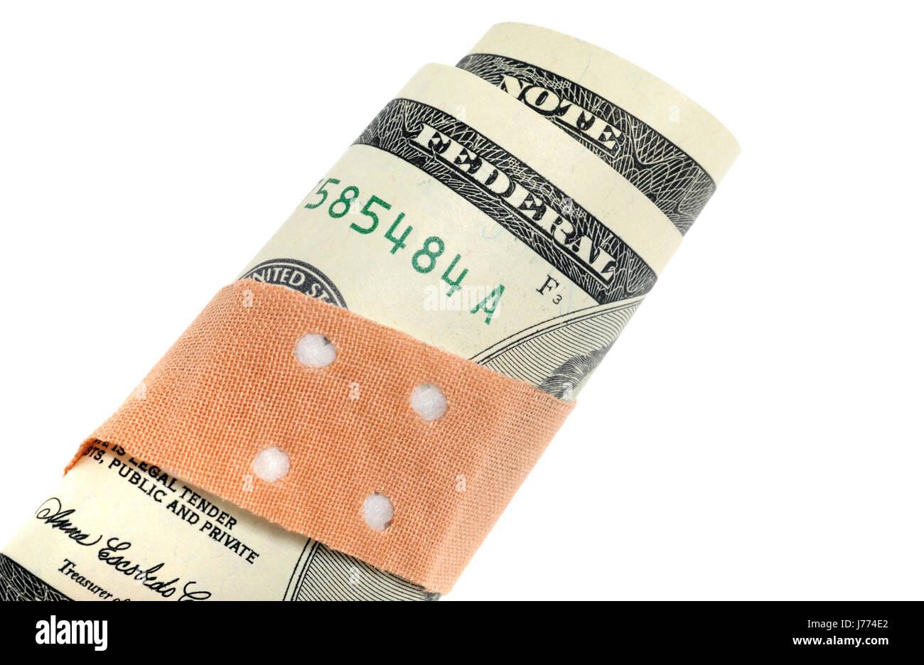 dollar dollars plaster bank note poor weak nervelessly chippy flimsy faintness - Stock Image