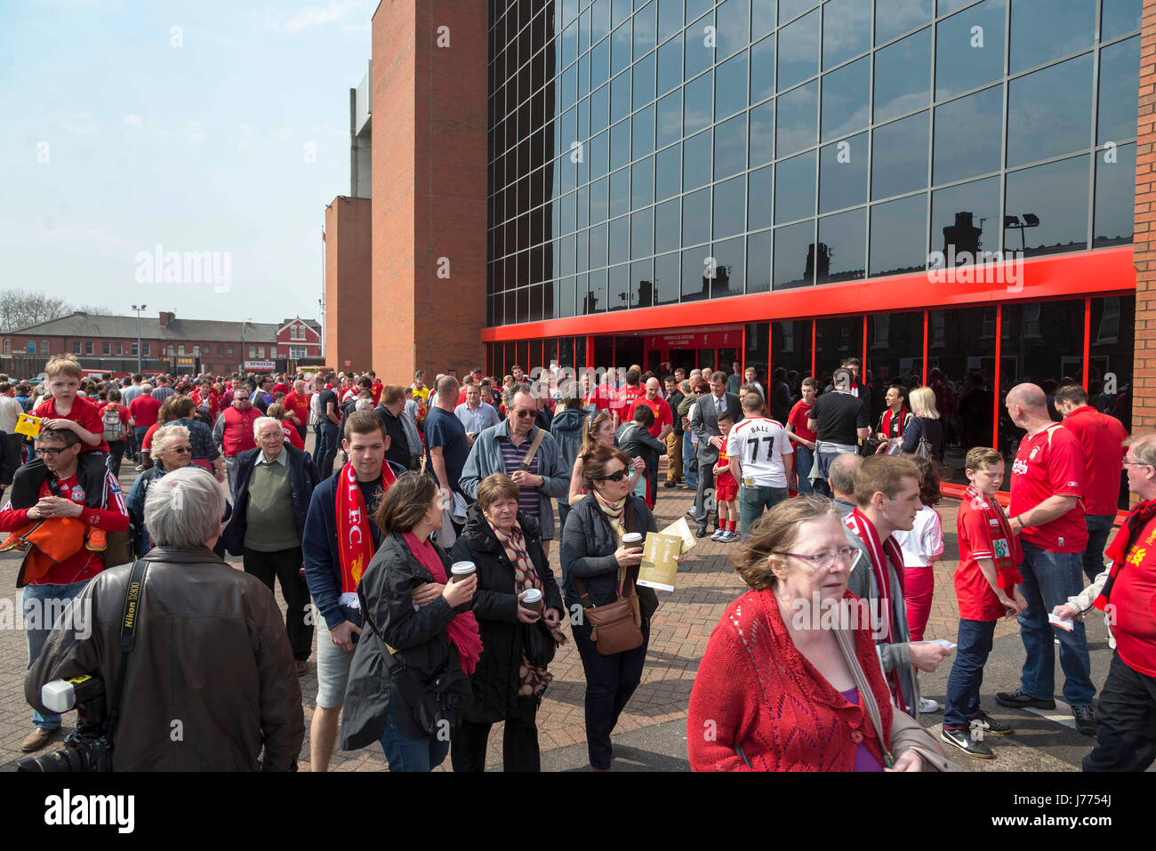 Anfield crowd at main stand - Stock Image