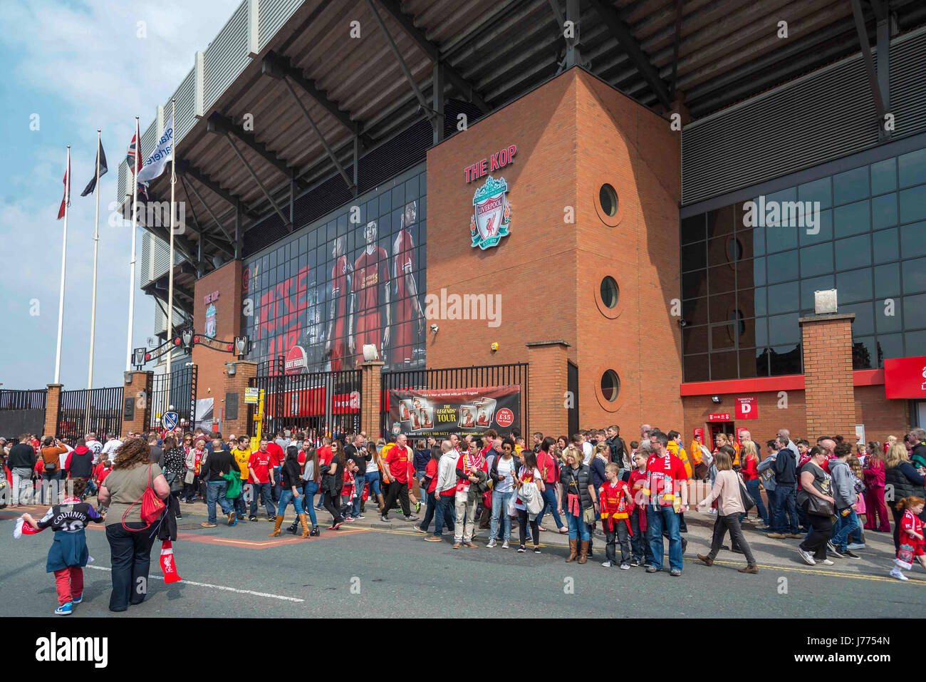 Anfield crowds at Kop stand Liverpool FC - Stock Image