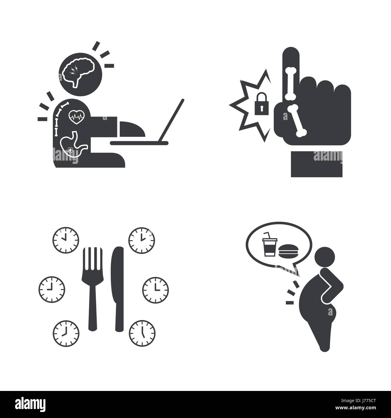 Effect of Office syndrome. Vector icons set. - Stock Vector