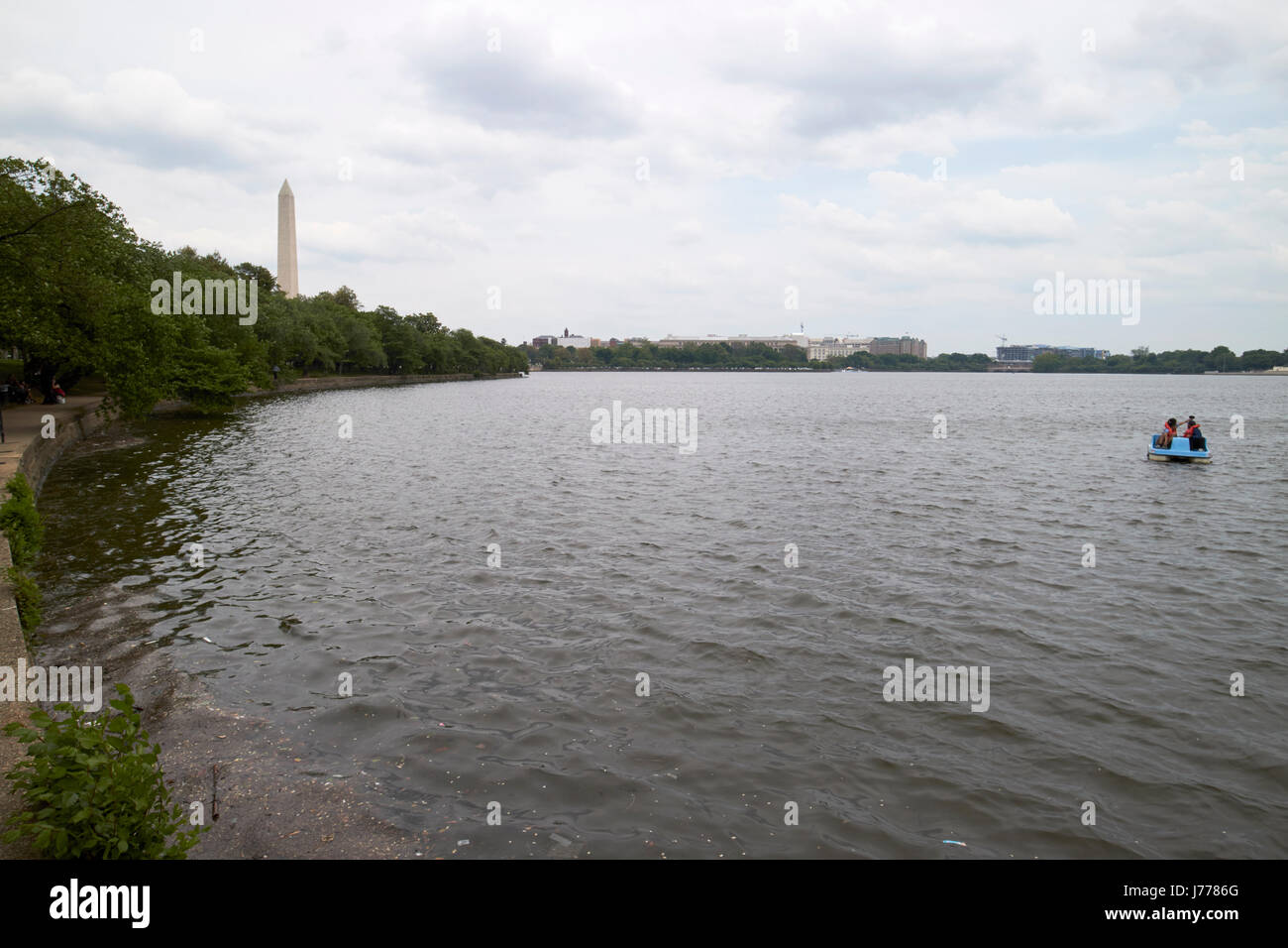 tidal basin on a dull overcast day Washington DC USA - Stock Image