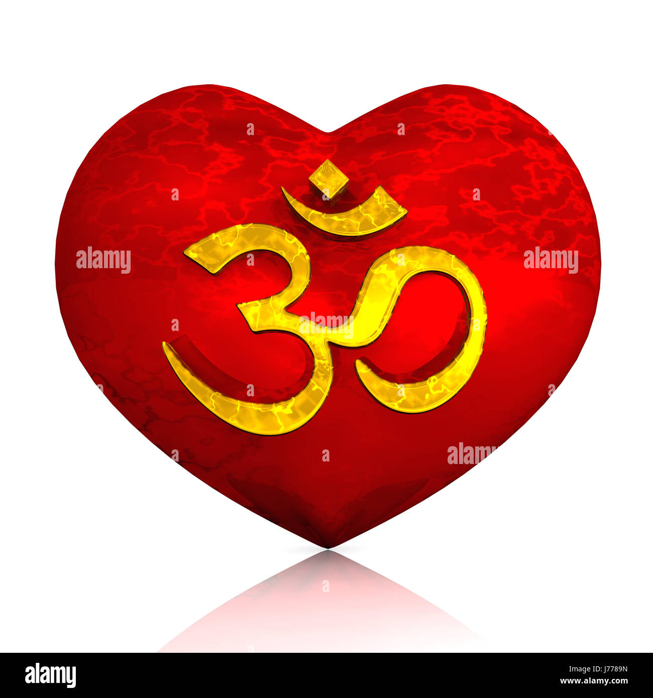 3d - om sign on red heart - Stock Image