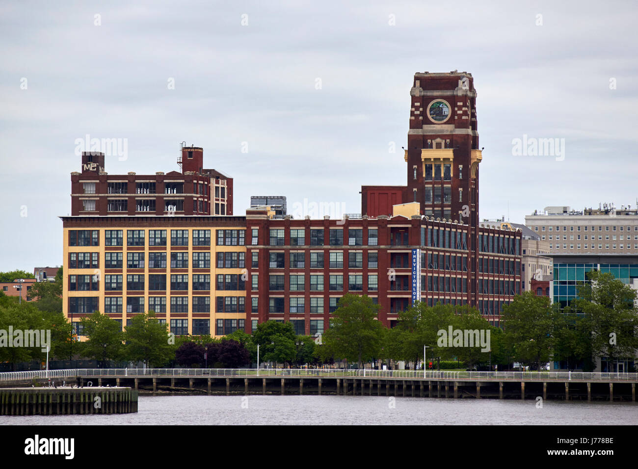 the victor lofts building former radio corp of america 'nipper' building on the camden waterfront new jersey - Stock Image