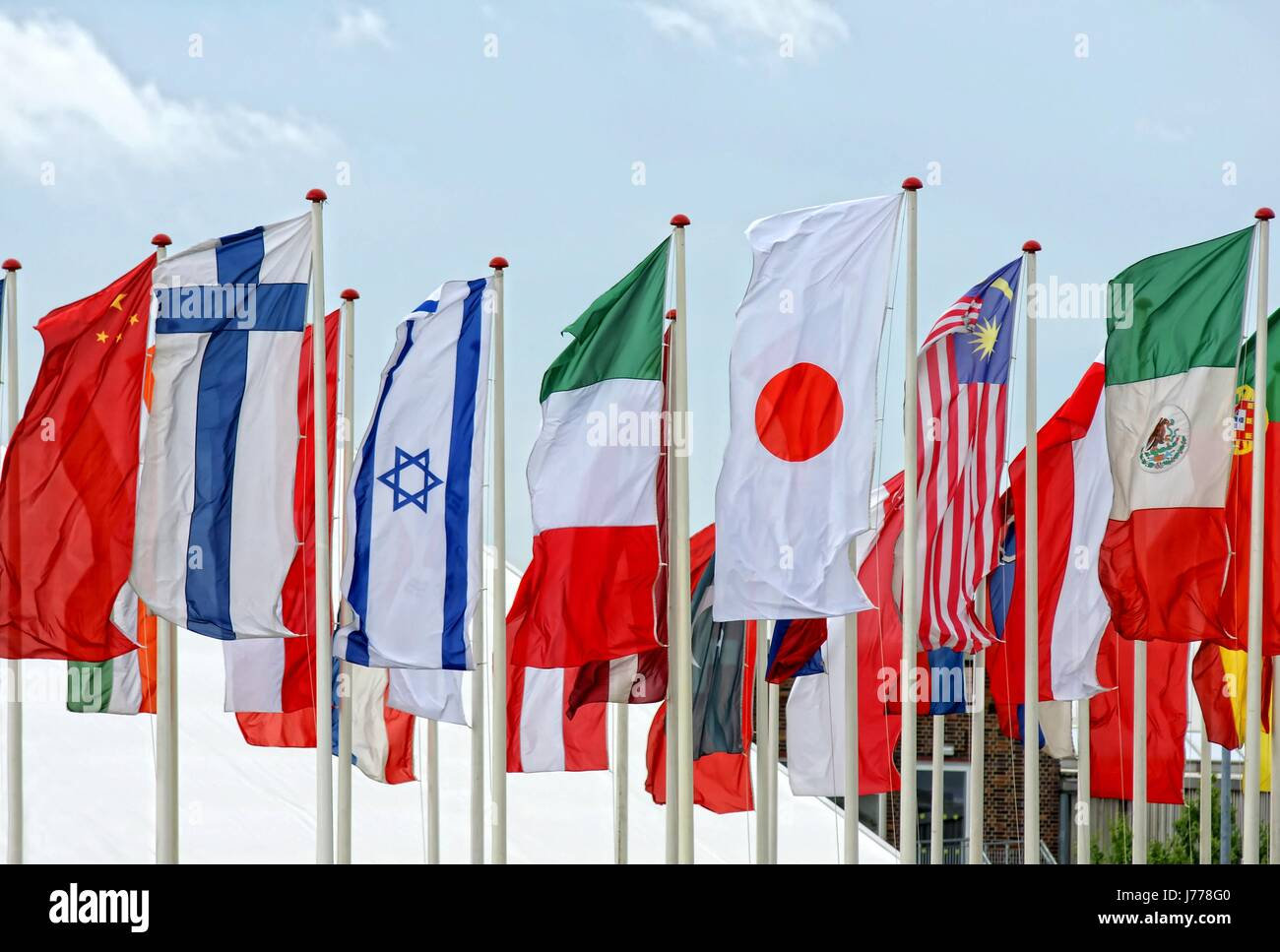 flags flagstaff coloured colourful gorgeous multifarious richly coloured masts Stock Photo