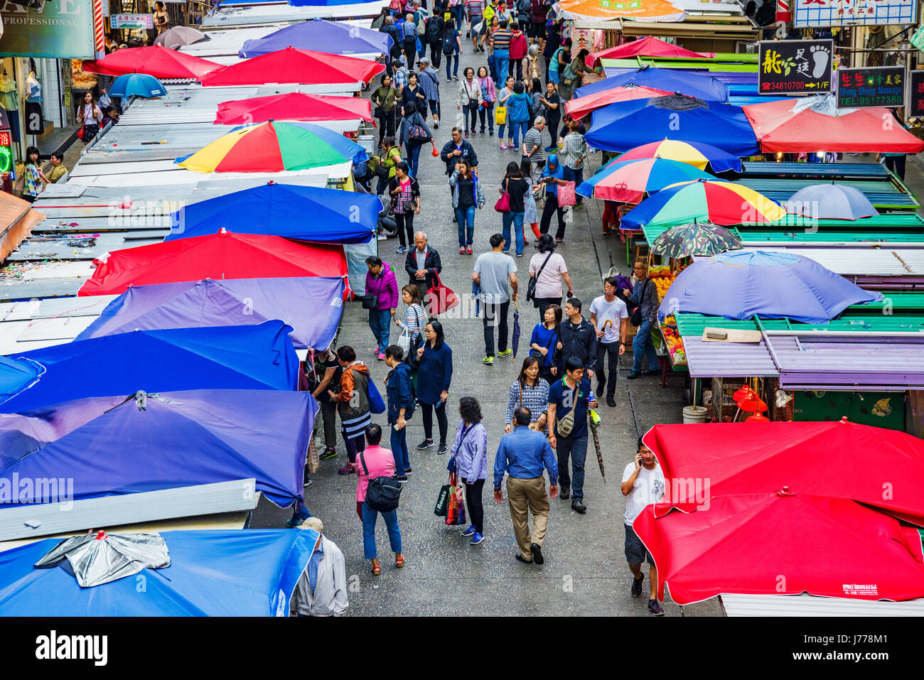HONG KONG, CHINA - APRIL 27: This is an aerial view of Fa Yuen street market a busy local street market which is - Stock Image