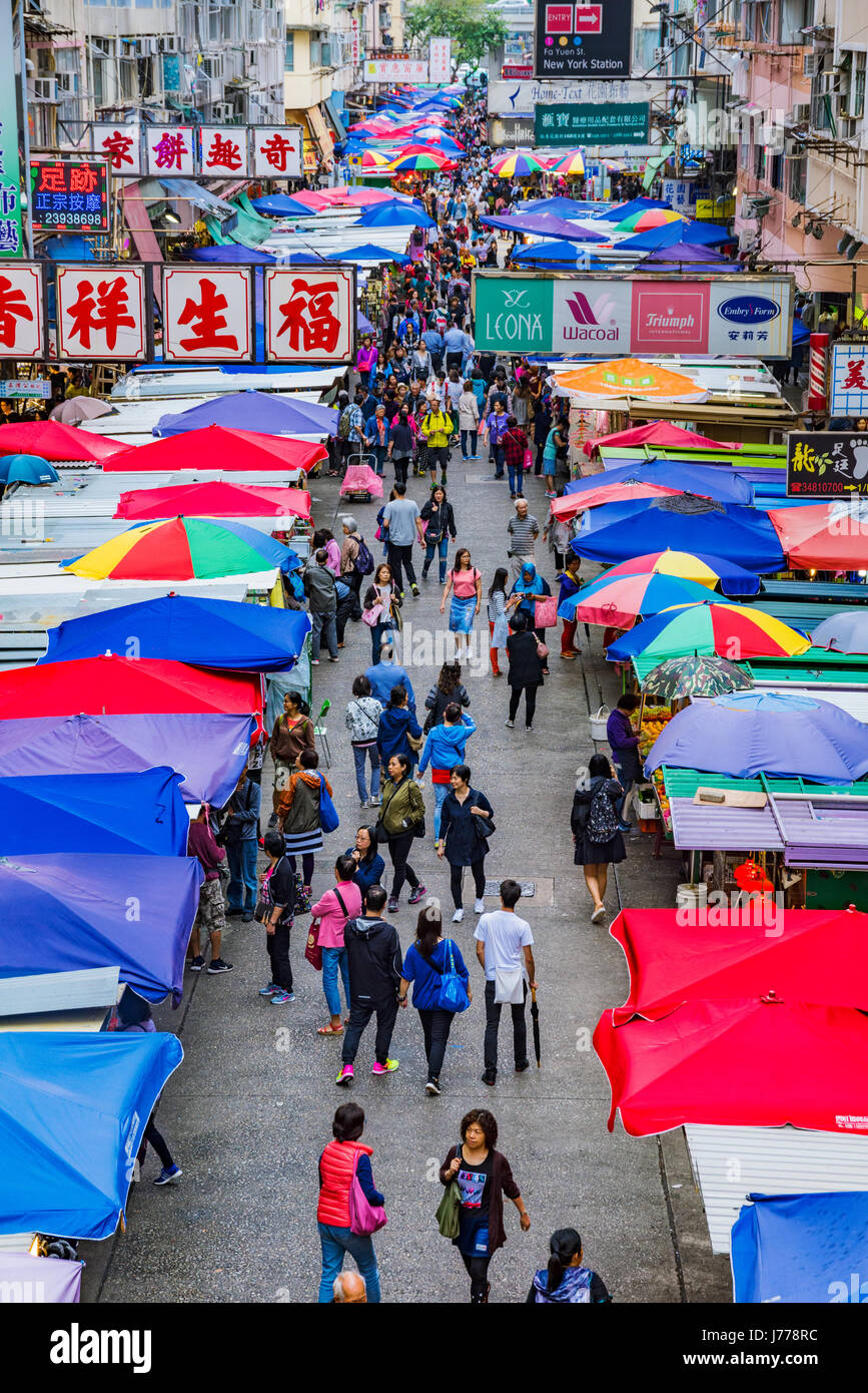 HONG KONG, CHINA - APRIL 27: This is a view of Fa Yuen street market a busy local street market which is also popular - Stock Image