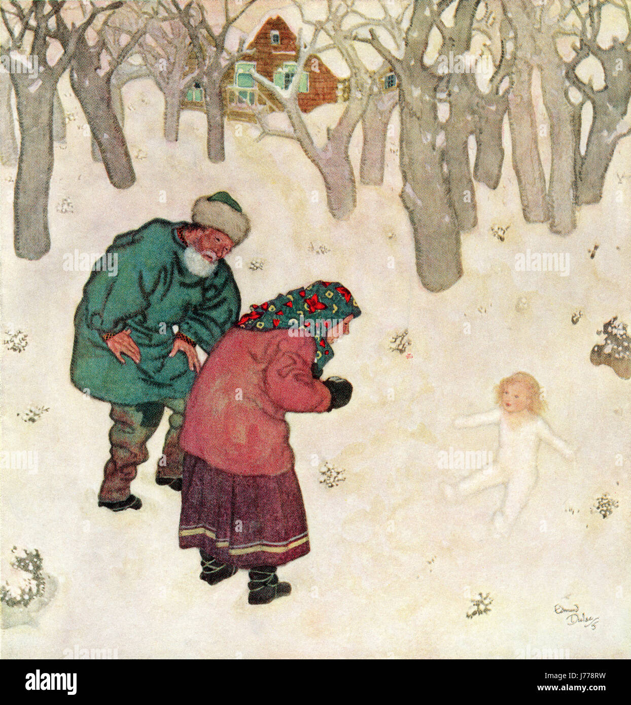 'The daintiest, prettiest little maiden they had ever seen'.  Illustration from the Russian fairytale Snegorotchka. - Stock Image