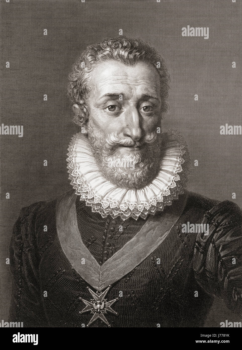 Henry IV, 1553 - 1610, aka Henry of Navarre or Bourbon.  King of Navarre as Henry III, 1572 - 89.  First Bourbon - Stock Image