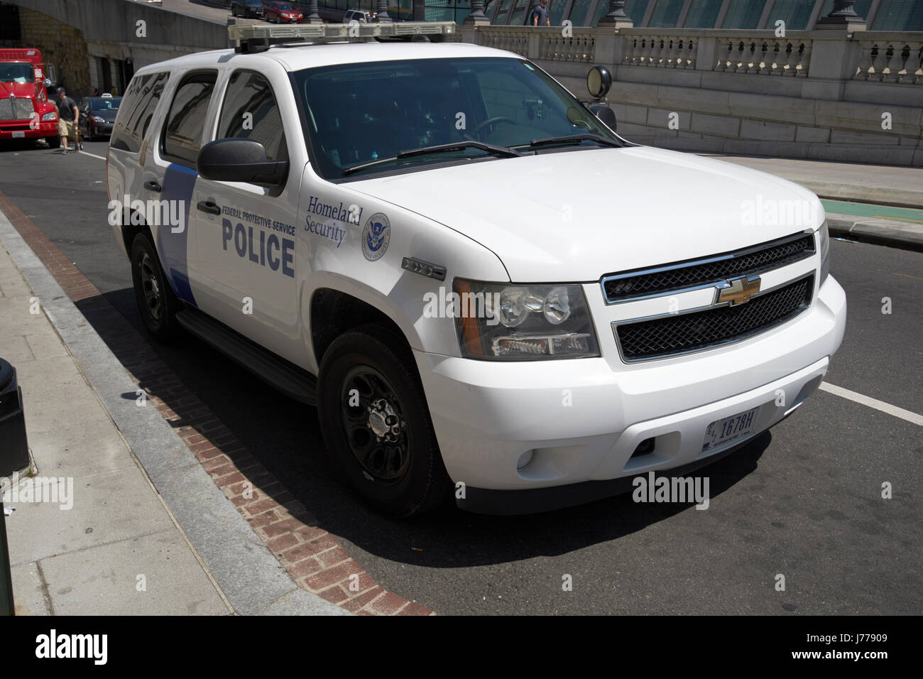 homeland security federal protective service police suv Washington DC USA - Stock Image