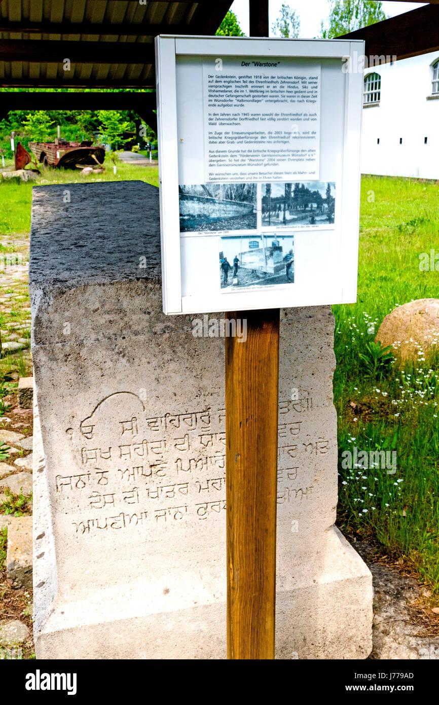 Wünstorf, Warstone für britische Kriegsgefangene, die im Lager Zossen starben; wuenstorf, warstone - Stock Image