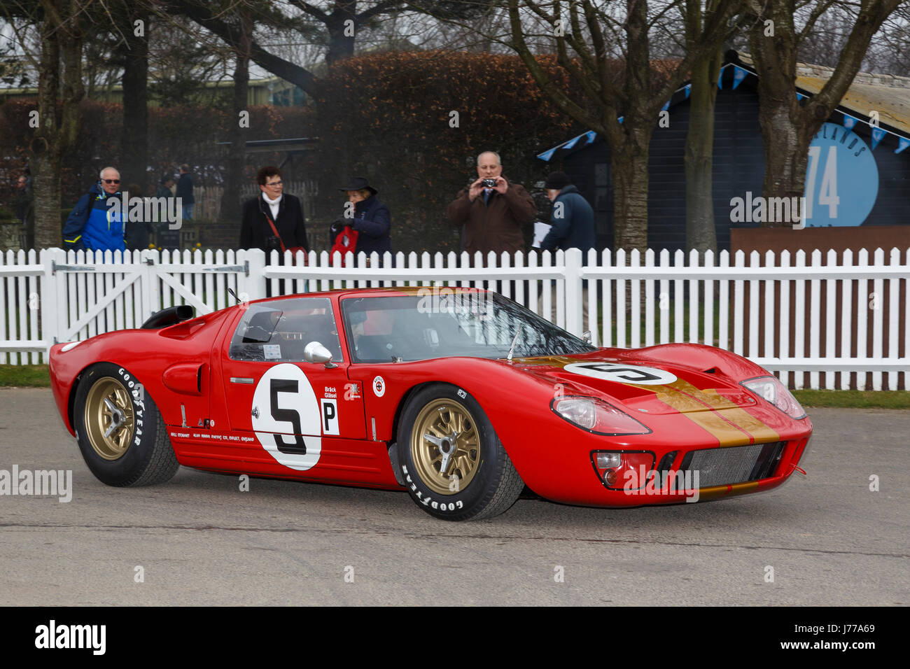 1966 Ford GT40 of Kenny Brack and Christian Glasel in the paddock at Goodwood GRRC 74th Members Meeting, Sussex, Stock Photo