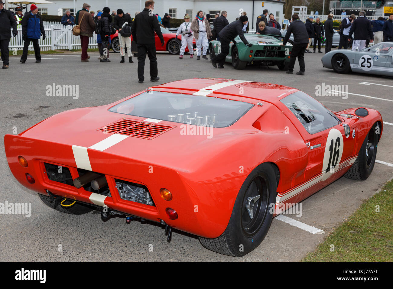 1965 Ford GT40 of Manuel Ferrao and Jim Farley in the paddock at Goodwood GRRC 74th Members Meeting, Sussex, UK. Stock Photo