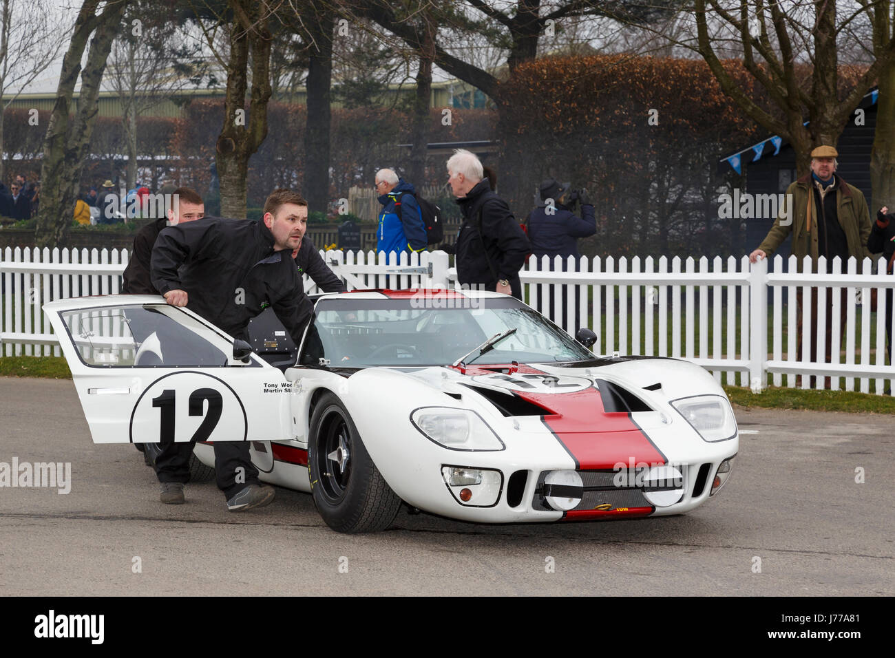 1965 Ford GT40 of Martin Stretton and Tony Wood in the paddock at Goodwood GRRC 74th Members Meeting, Sussex, UK. Stock Photo