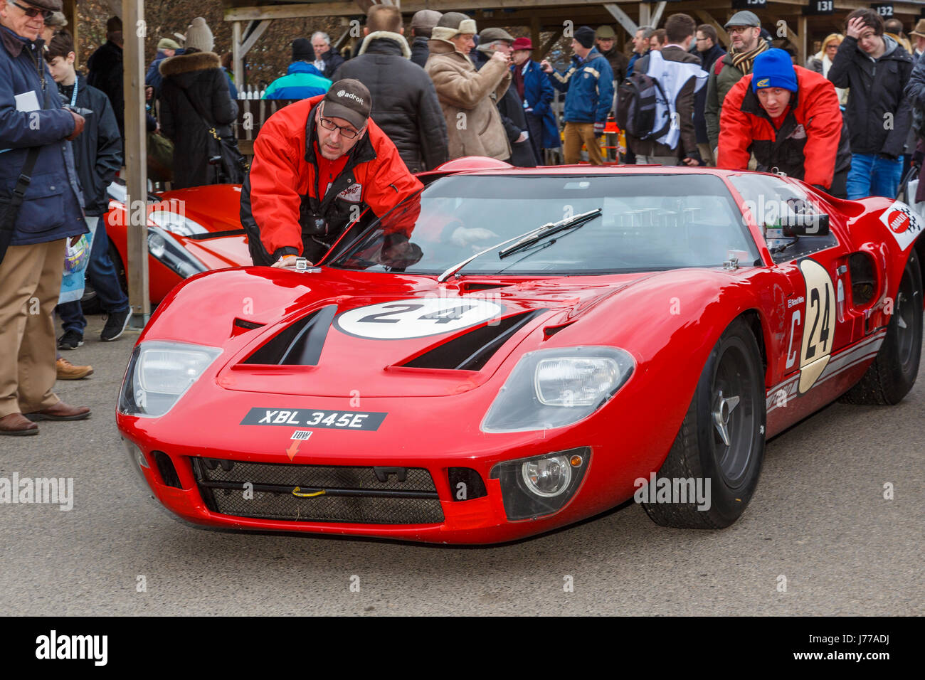 1967 Ford GT40 of Richard Meins and Rob Huff in the paddock at Goodwood GRRC 74th Members Meeting, Sussex, UK. Stock Photo