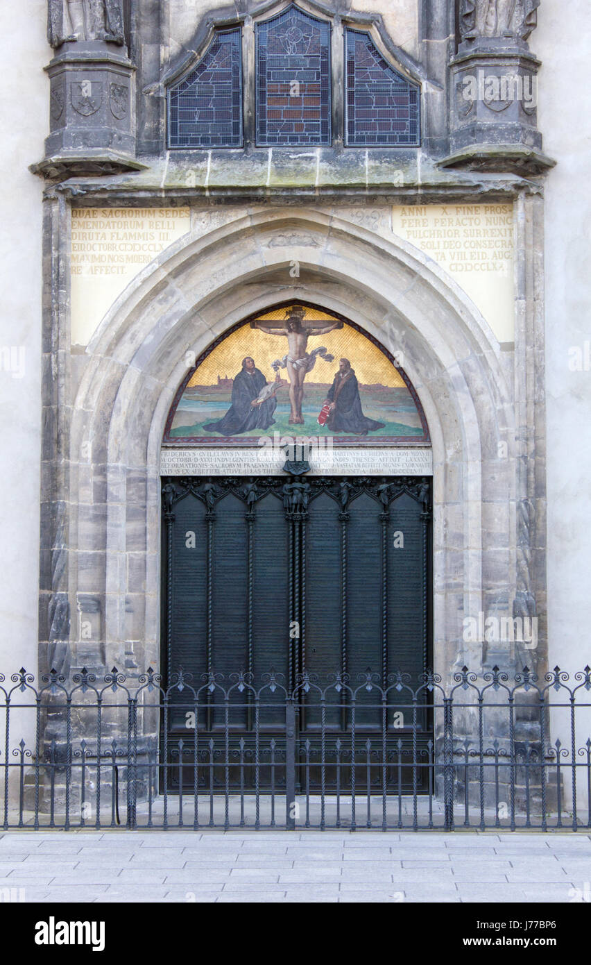 Door with theses of the castle church in the Luther city Wittenberg & Door with theses of the castle church in the Luther city Wittenberg ...