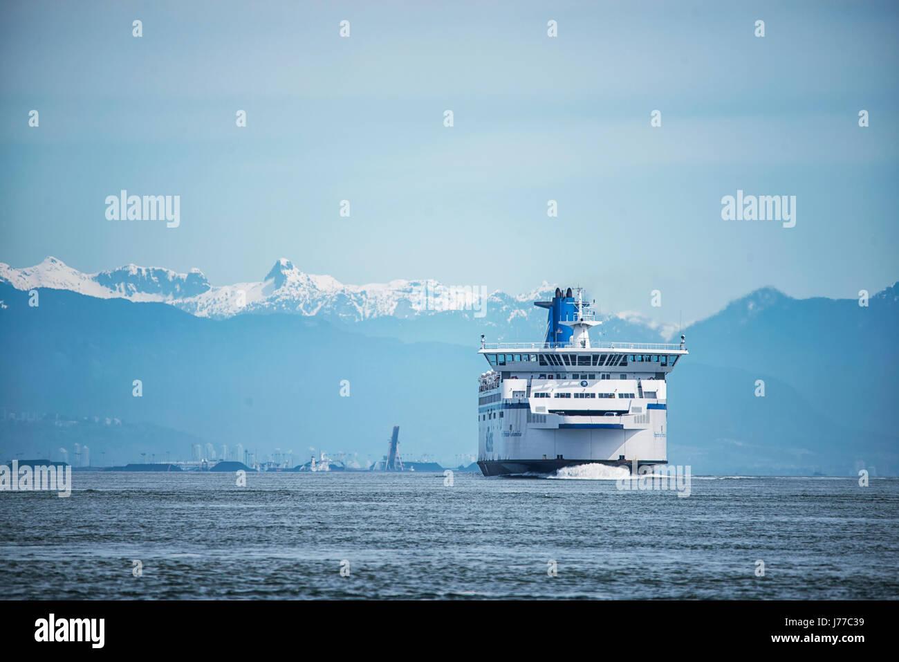BC Ferries company passenger vessel Spirit of British Columbia sailing near to Galiano Island 3. - Stock Image
