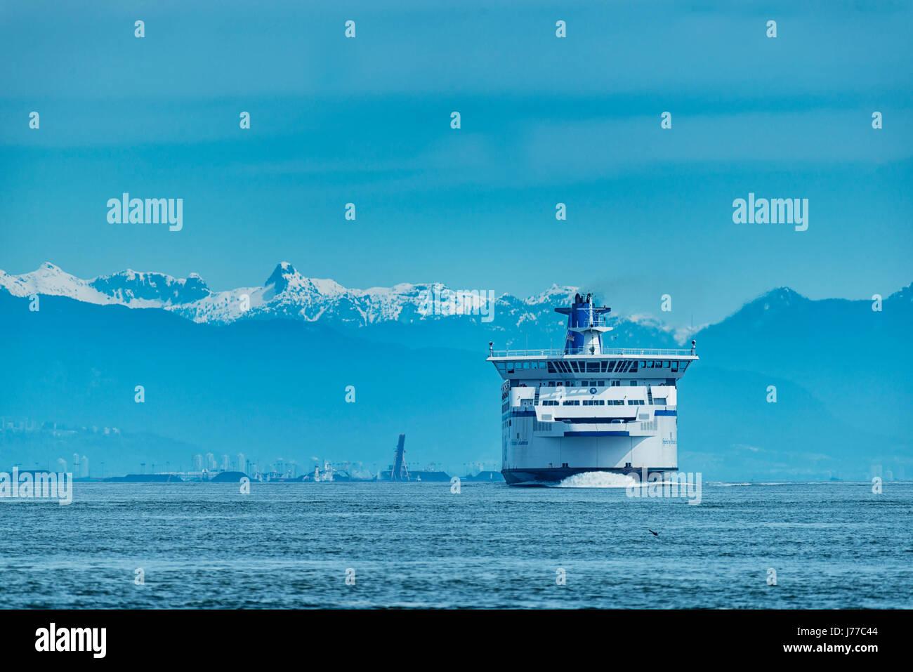 BC Ferries company passenger vessel Spirit of British Columbia sailing near to Galiano Island 2. - Stock Image