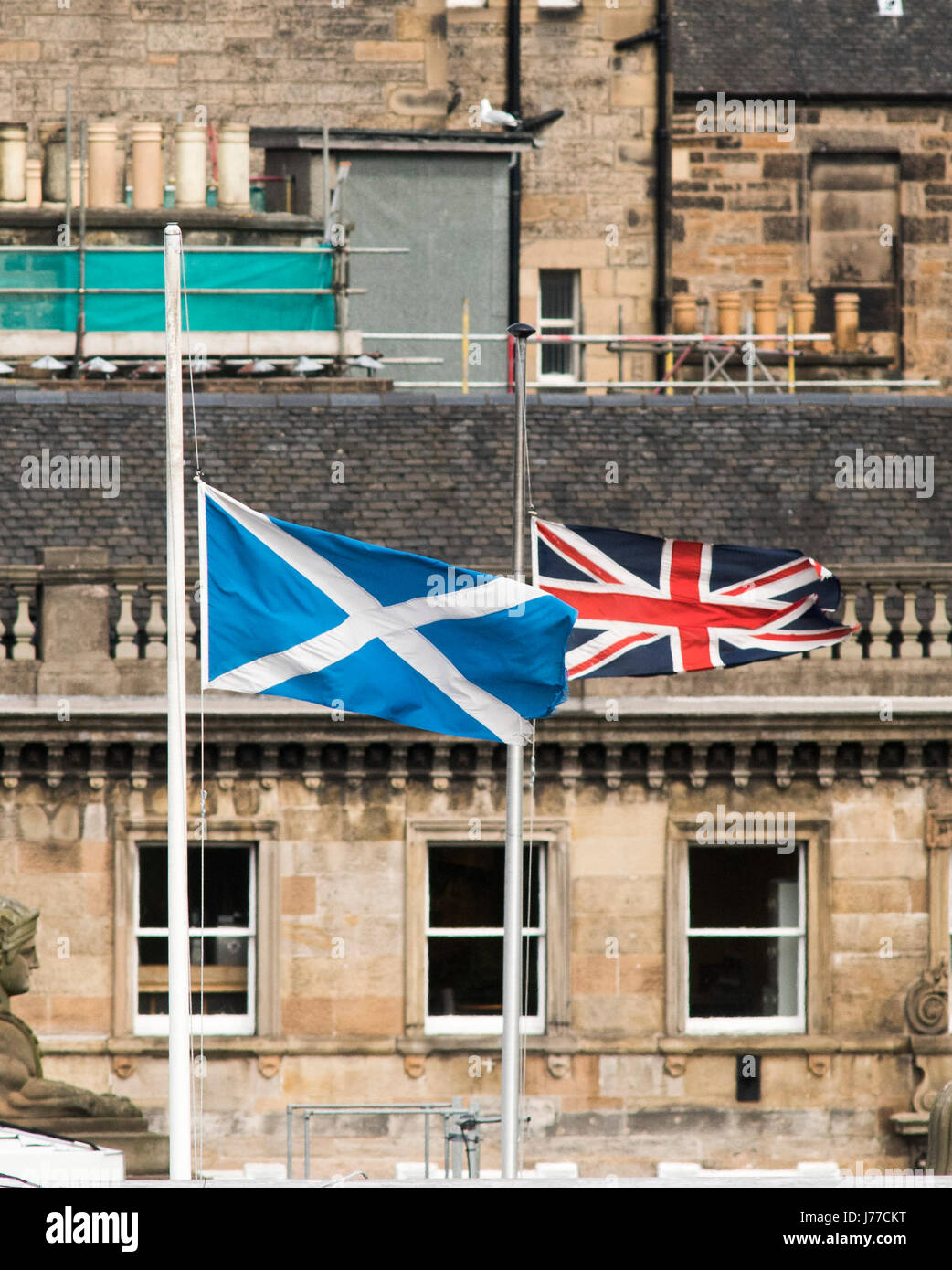 Edinburgh, UK. 23rd May, 2017. General Assembly of the Church of Scotland. Day Four: A Saltire flag and a Union - Stock Image