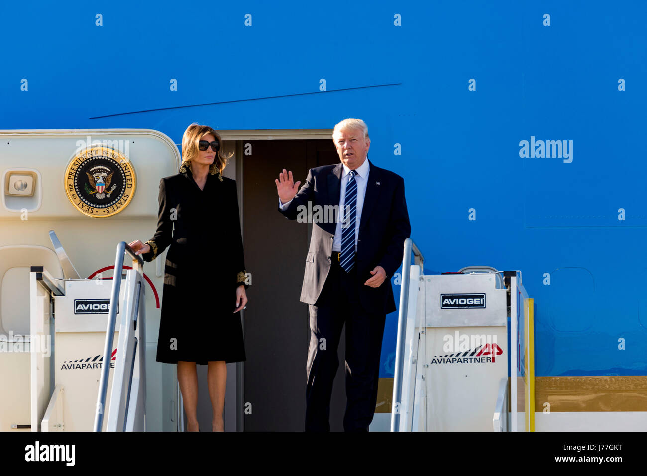 Donald Trump arrives in Rome Italy on board Air Force One Stock Photo