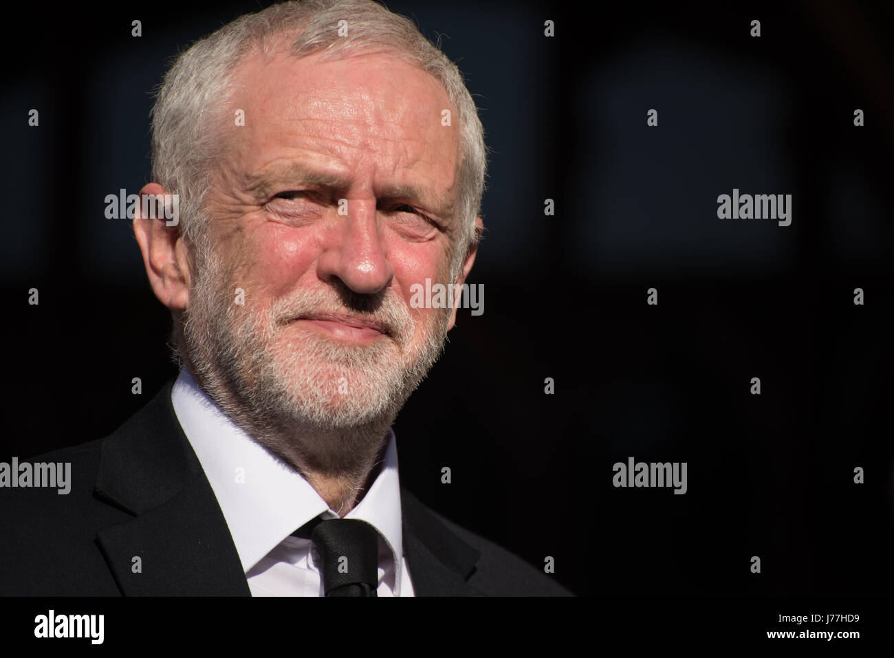 Manchester, UK. 23rd May, 2017. Rt. Hon. Jeremy Corbyn, Leader of the Labour Party and Labour Party candidate for - Stock Image