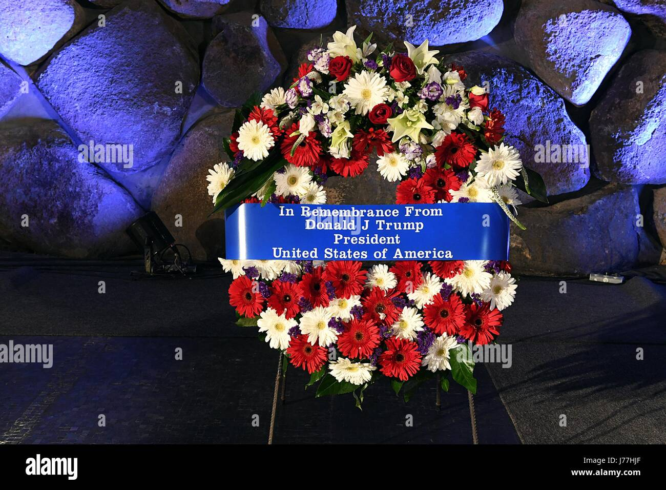 The wreath placed by U.S. President Donald Trump at the Yad Vashem Holocaust Remembrance Memorial May 23, 2017 in - Stock Image