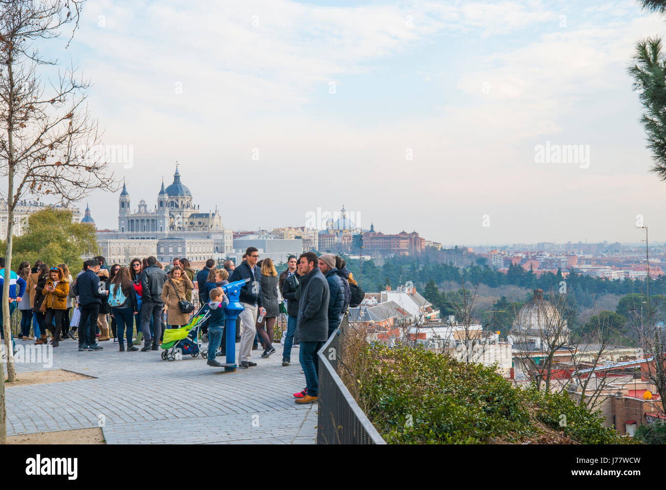 People at the viewpoint. Debod Temple, Madrid, Spain. - Stock Image