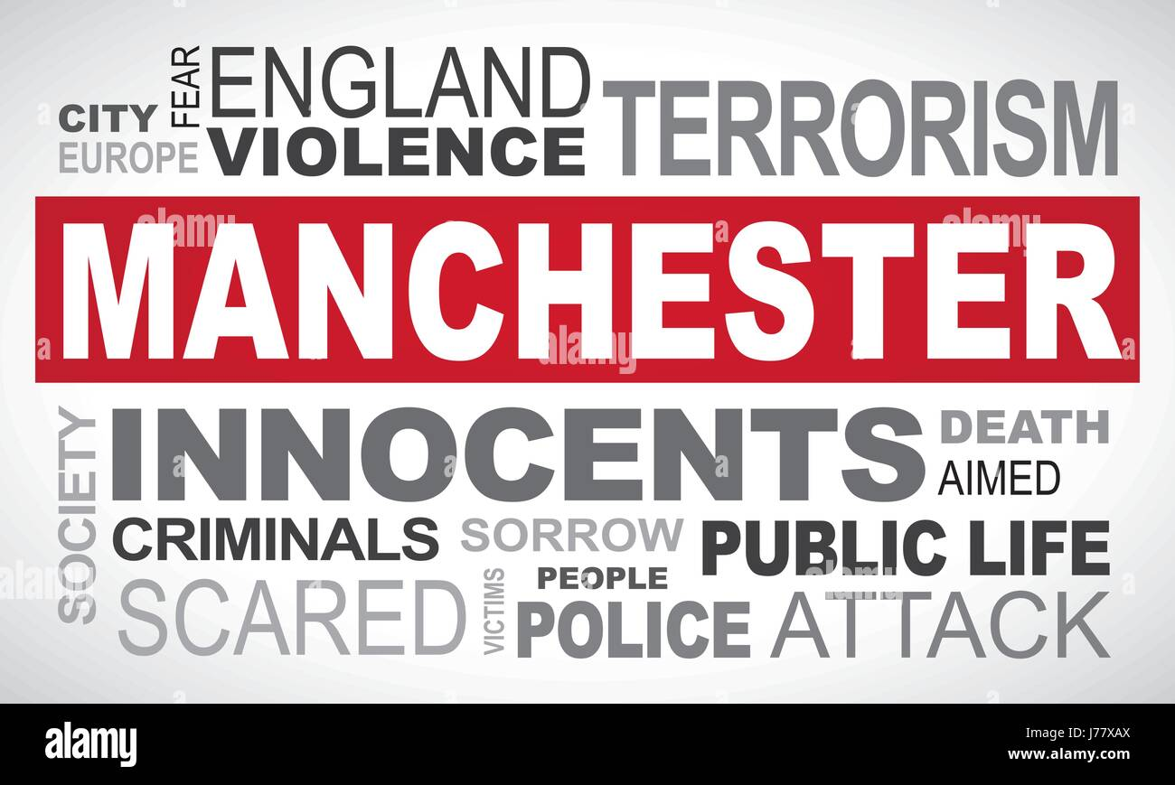 Manchester terror attack - word cloud illustration english Stock Vector