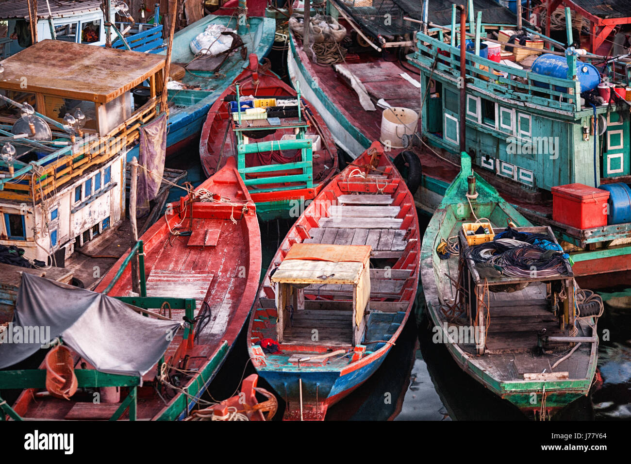 Fishing boats tied up in the harbour on Phu Quoc Island, Vietnam - Stock Image