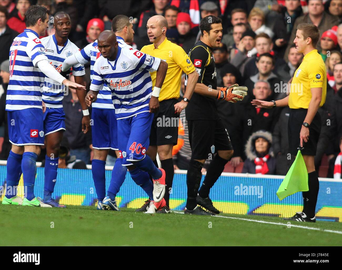 STEPHANE MBIA SENT OFF ARSENAL V QUEENS PARK RANGERS LONDON ENGLAND UK 27 October 2012 - Stock Image