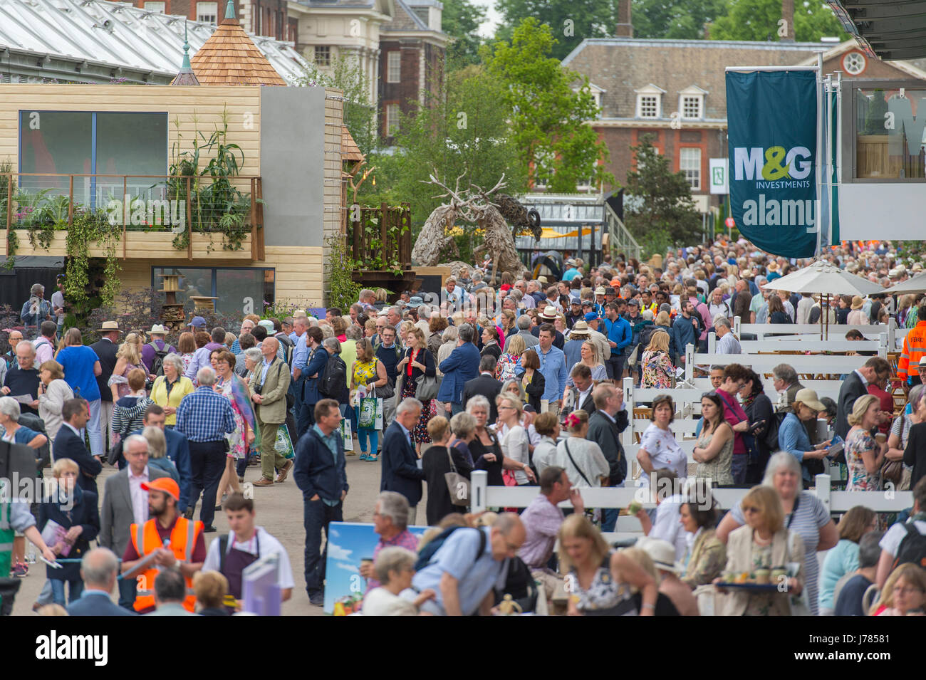 Opening public day of the world famous 2017 RHS Chelsea Flower Show with large crowds attending. - Stock Image