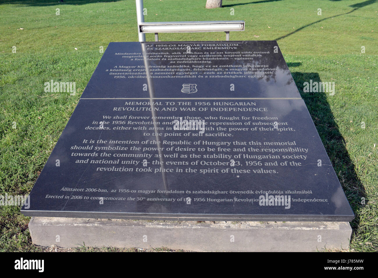 Memorial plaque to the 1956 Hungarian Revolution and War of Independence, Budapest, Hungary. - Stock Image