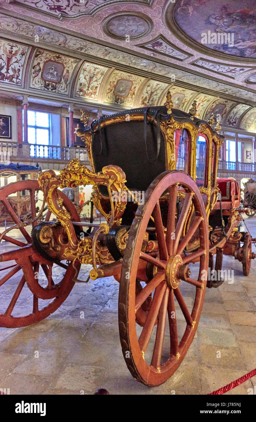 The National Coach Museum (Portuguese: Museu Nacional dos Coches) is located on the Afonso de Albuquerque Square - Stock Image