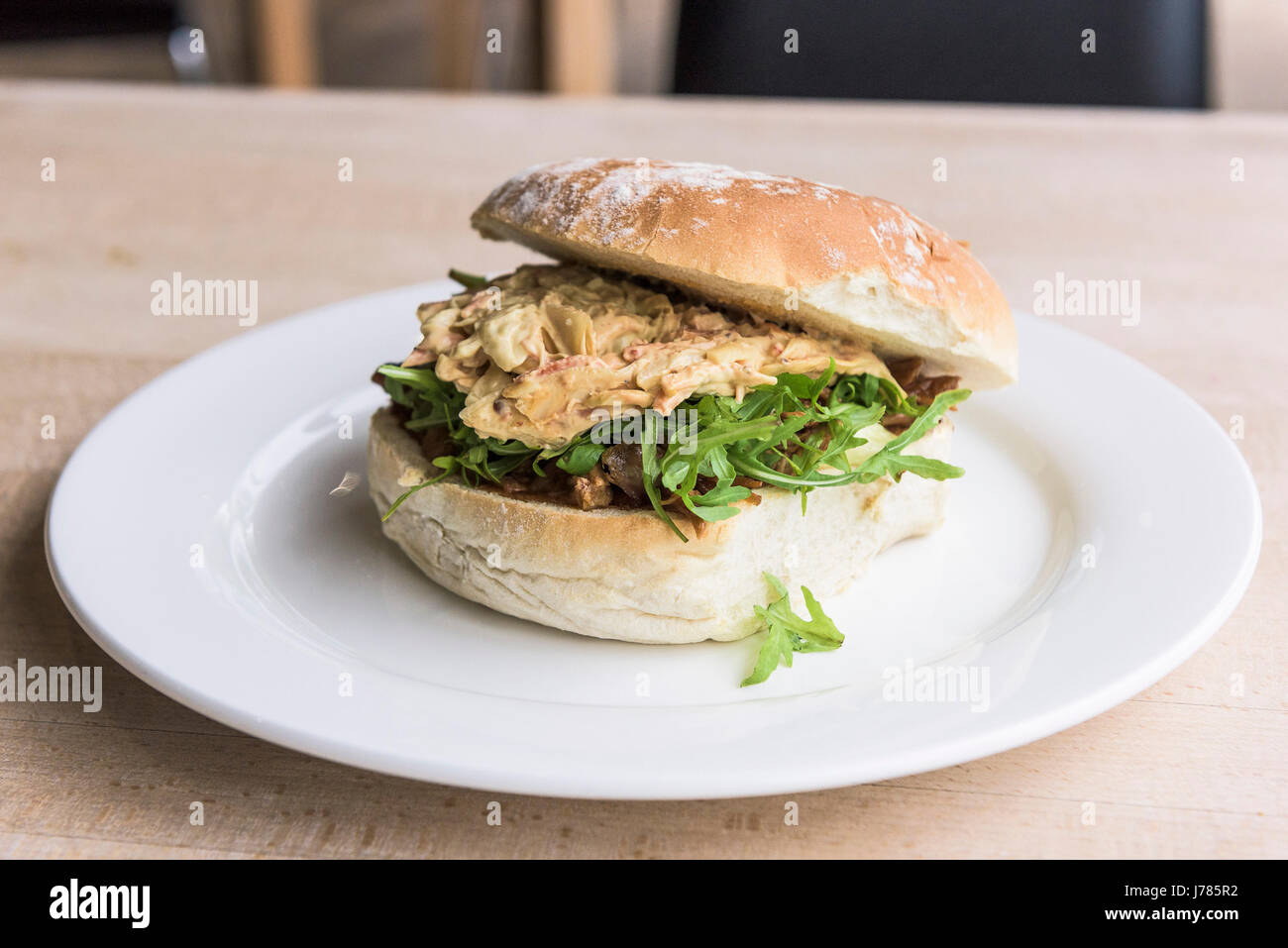Pulled Pork in a roll; Food; Restaurant; Meal; Appetising; Appetizing; Plate - Stock Image